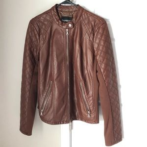 Brown Vegan Leather Moto Jacket